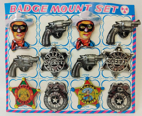 1960's Tin Lithographed 12-Piece BADGE MOUNT SET on the Original Card, Japan