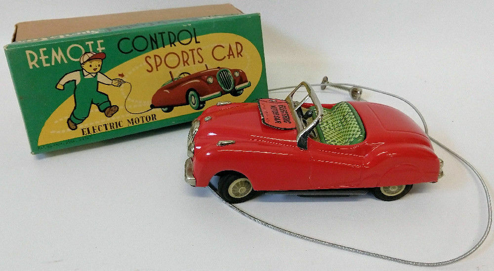 "1950s Masudaya / Modern Toys (MT) Japan Tin Jaguar Sports Car Convertible 8"" - Continental Hobby House"