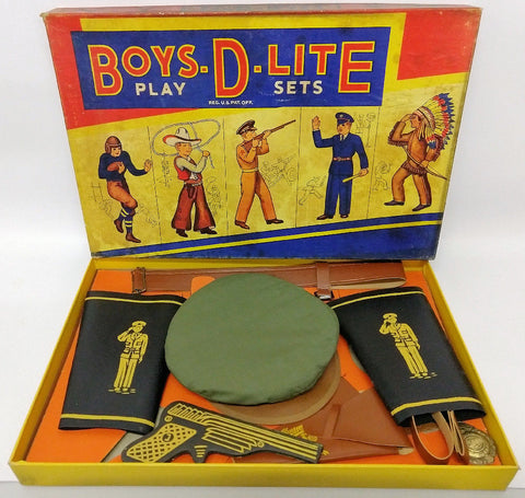 1940's BOYS-D-LITE Military Soldier Officer Dress-up Playset in the Original Box