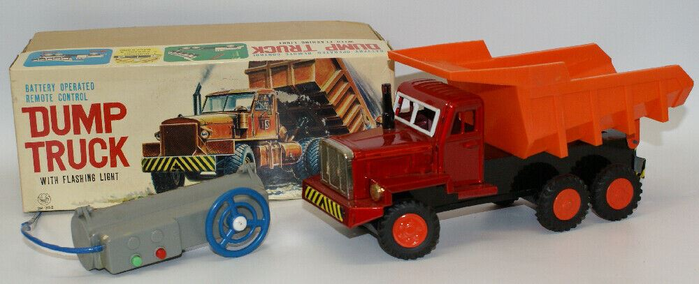 Vintage ASAHI Japan Battery Op Remote Cont. DUMP TRUCK Toy Construction Truck - Continental Hobby House