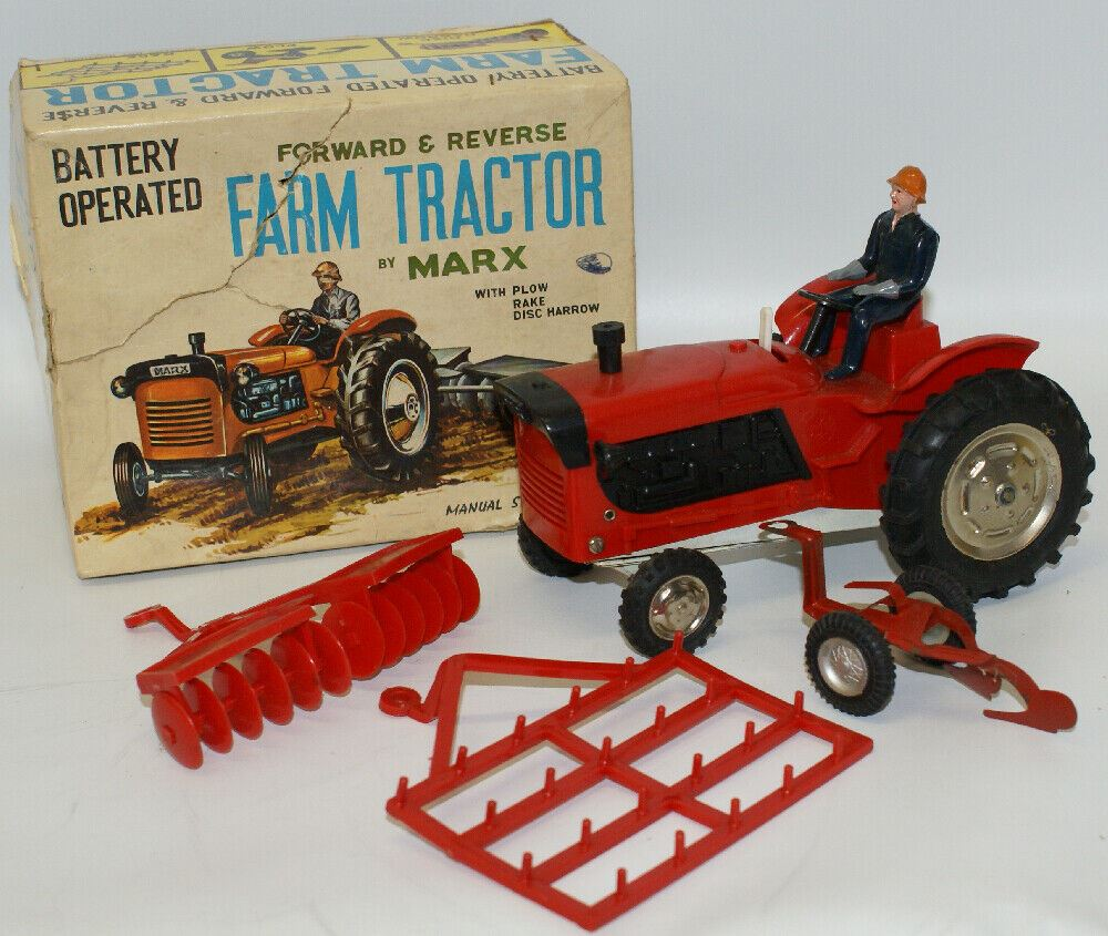 Vintage MARX Japan Battery Op Red Plastic FARM TRACTOR Toy Set with Implements - Continental Hobby House