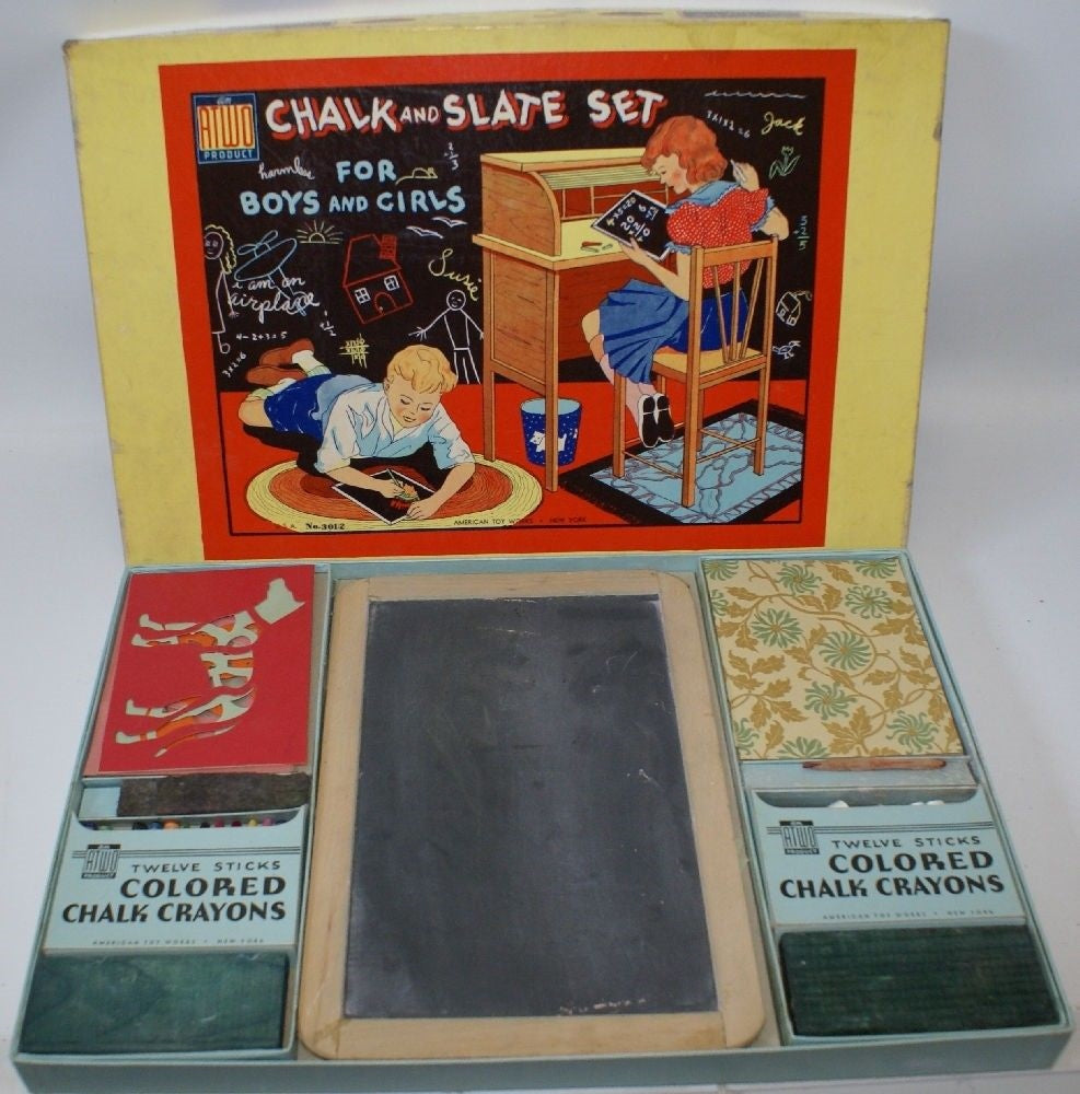 Vintage 1950's Chalk and Slate Set #3102 in Original Box, American Toy Works - Continental Hobby House