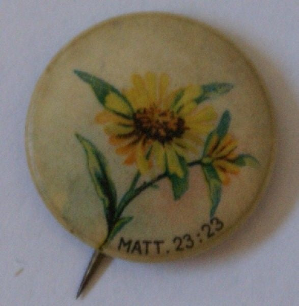 Vintage Chicago Sunday School Celluloid Advertising Pin, Matthew 23:23, Presb. - Continental Hobby House