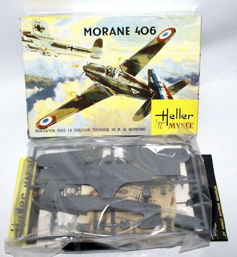 Vintage HELLER MVSEE 1:72 Scale MORANE 406 French Fighter Jet Plane Model Kit - Continental Hobby House