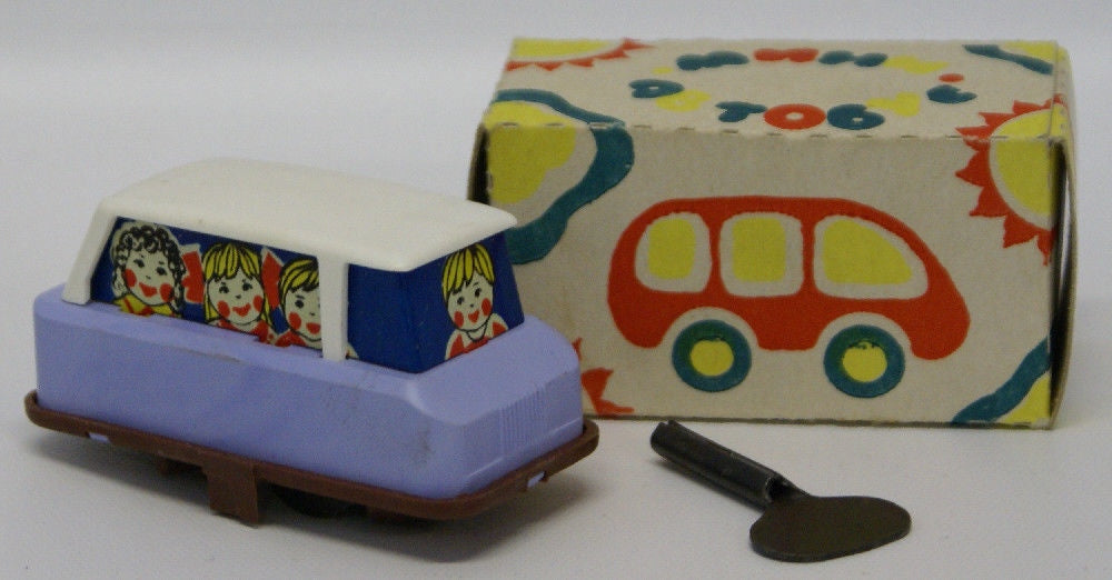 "Vintage Russian Tin Lithographed & Plastic Wind-up Lavender 3"" Toy Car - Continental Hobby House"