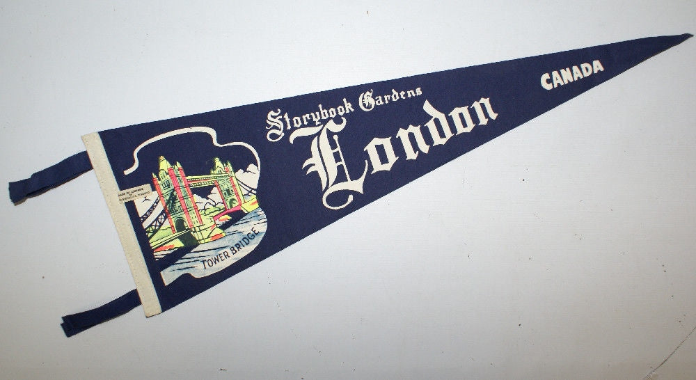 Vintage Felt Pennant Flag STORYBOOK GARDENS, LONDON CANADA, TOWER BRIDGE - Continental Hobby House