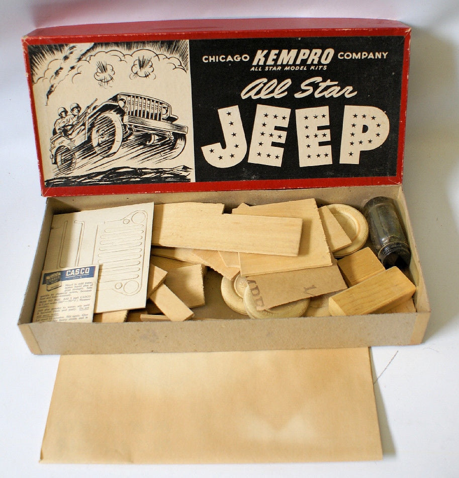 ULTRA RARE Vintage Wooden ALL STAR JEEP Model Kit by Kempro Co., Chicago IL - Continental Hobby House