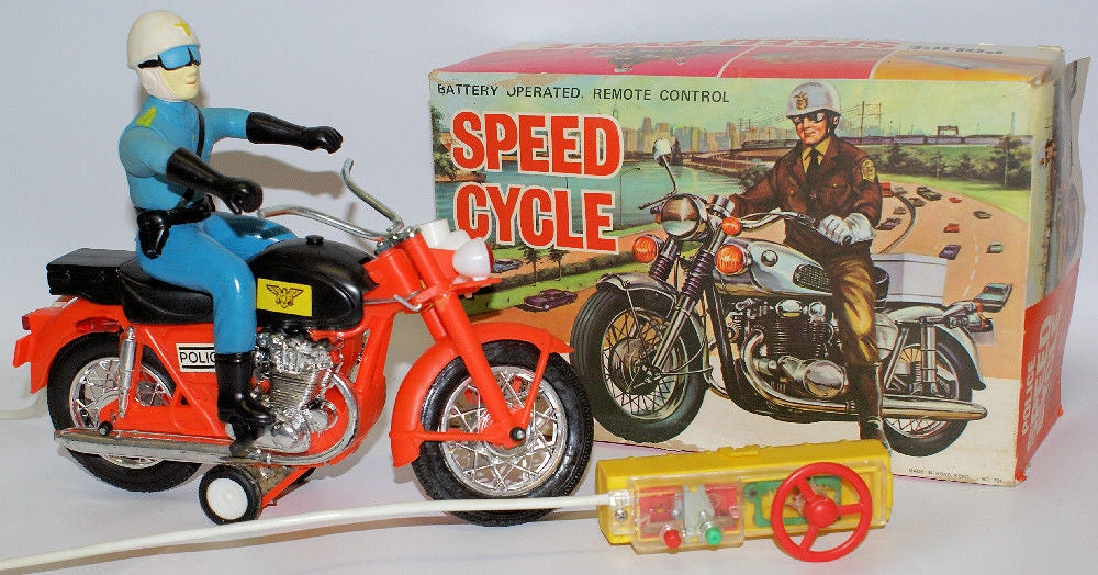 Vintage 1960's Battery Op Remote Controlled #721 POLICE SPEED CYCLE Motorcycle - Continental Hobby House