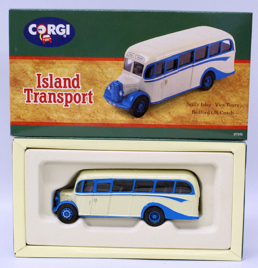 Vintage CORGI #97101 ISLAND TRANSPORT Scillys Isles Vics Tours Bedford OB Coach - Continental Hobby House