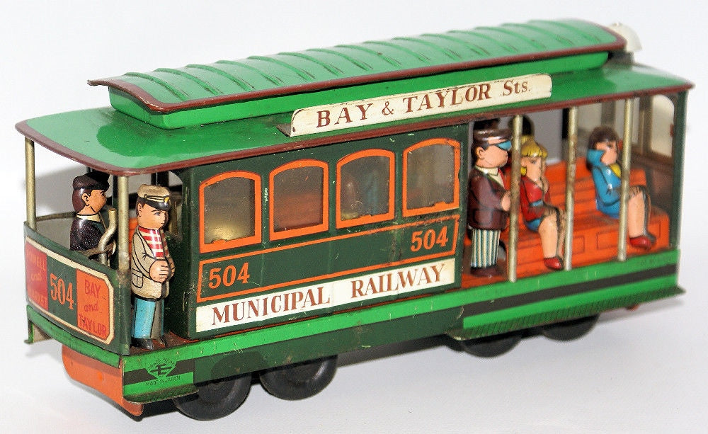 Vintage Tin Friction MUNICIPAL RAILWAY 504 Powell Mason Bay Taylor Made in Japan - Continental Hobby House
