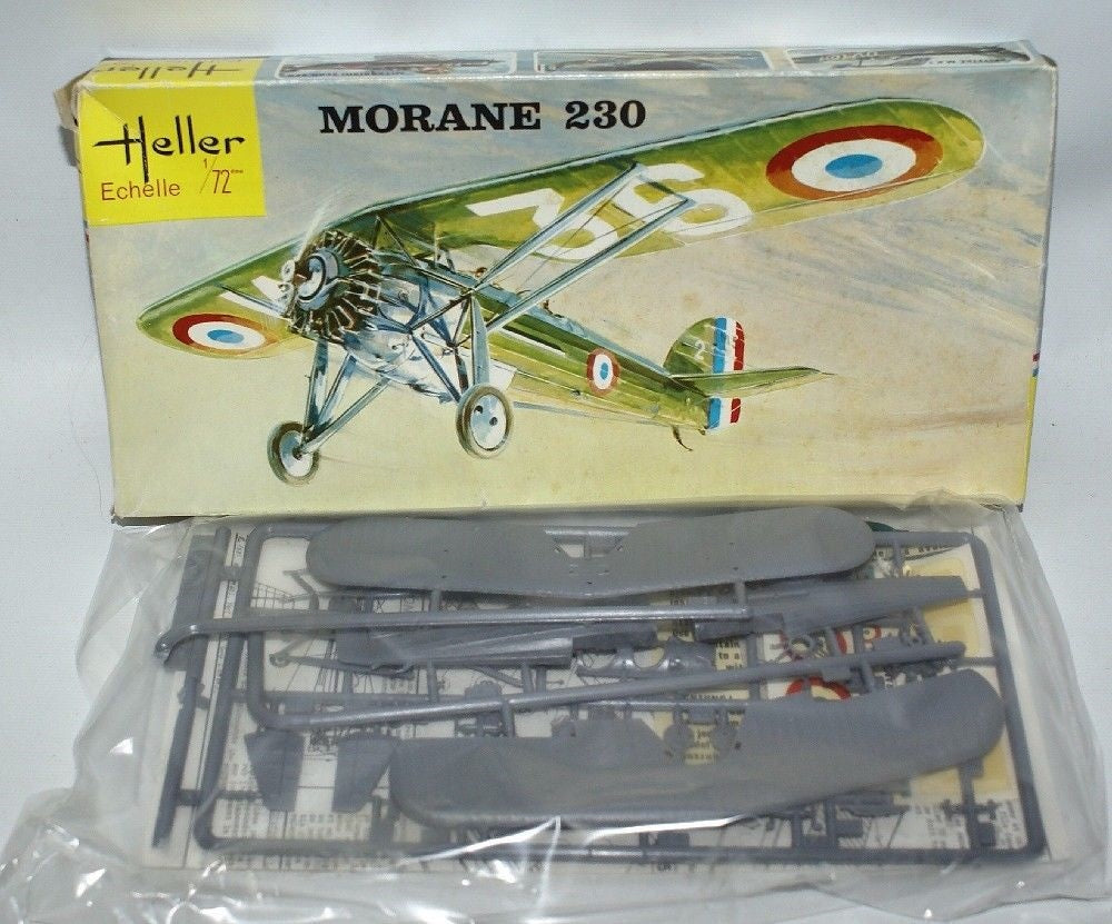 Vintage 60's HELLER 1:72 MORANE 230 WWII French Fighter Jet Plane Model Kit L098 - Continental Hobby House