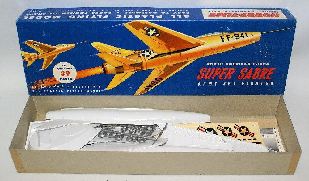 Vintage HOBBY-TIME North American F-100A SUPER SABRE Jet Fighter Model Kit 2003 - Continental Hobby House