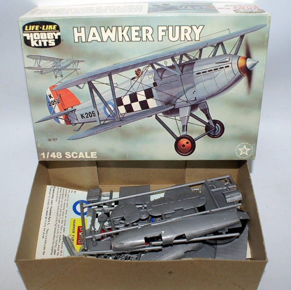 Vintage LIFE-LIKE 1:48 P-608 HAWKER FURY RAF Inceceptor Biplane Model Kit 09608 - Continental Hobby House