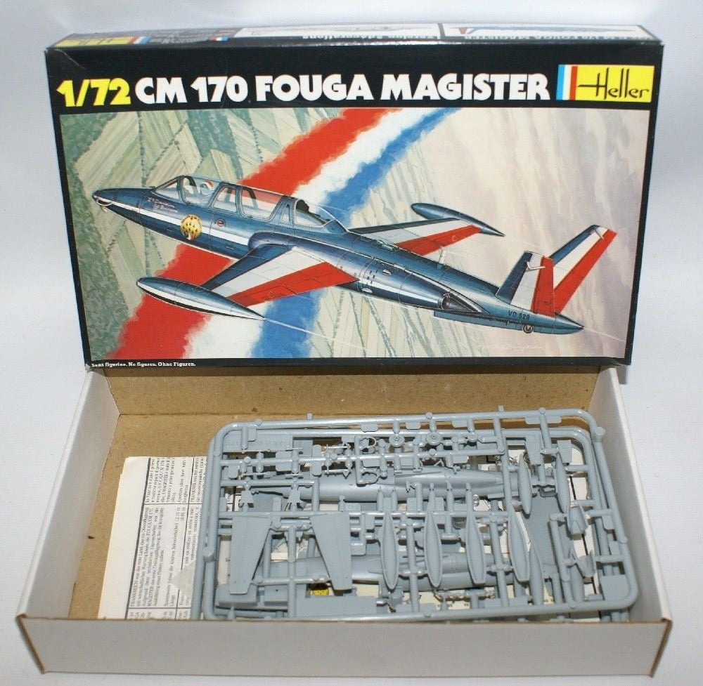 Vintage HELLER 1:72 Scale CM170 FOUGA MAGISTER French Fighter Plane Model Kit - Continental Hobby House