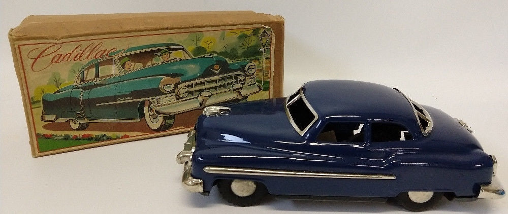 1949 Vintage Tin Friction Powered 1949 CADILLAC Toy Car in Original Box (Japan) - Continental Hobby House