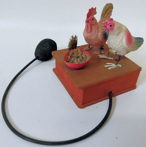 ULTRA RARE (Occupied Japan) Celluloid Mechanical Chickens Pecking at Food Dish