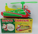 1970's MASUDAYA / MODERN TOYS (Japan) Tin SANTA COPTER Christmas Helicopter Toy - Continental Hobby House