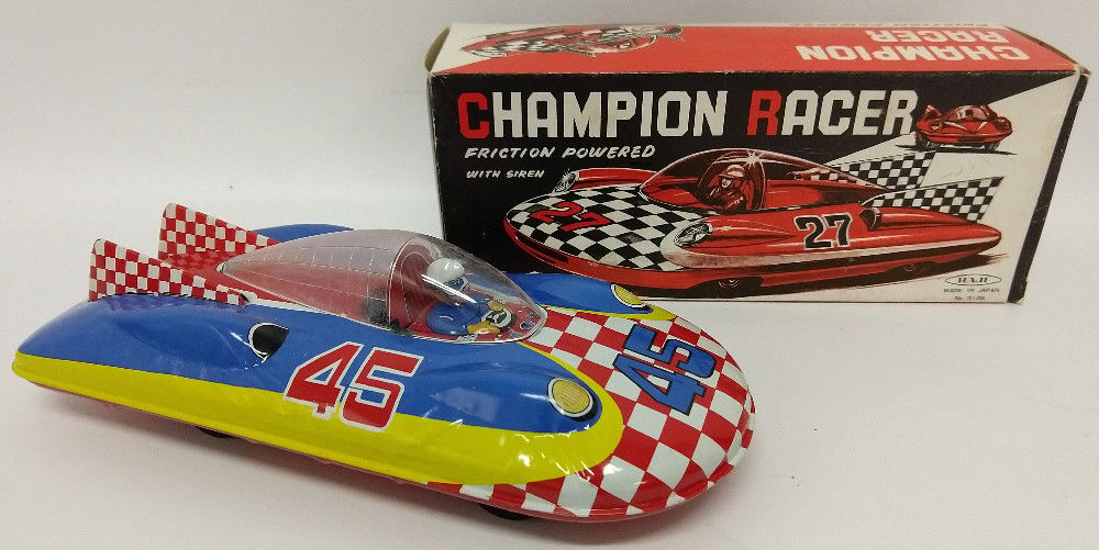 1960's HAJI (Japan) Tin Fricton CHAMPION RACER #3126 Fiat Abarth Space Car Toy - Continental Hobby House