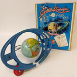 Vintage 1950's GESCHA Tin #805 SATELLIT ROTARYO Toy Rotating Space Theme Toy - Continental Hobby House