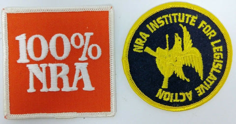 "Pair of Vintage NRA Iron-On or Stitch-On Patches - ""100% NRA"" & ""NRA Institute"""