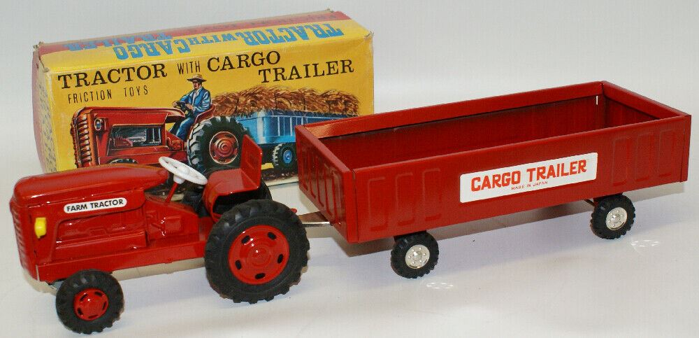 Vintage 1960's Tin Friction TRACTOR WITH CARGO TRAILER Farm Toy Set #1417, Japan - Continental Hobby House