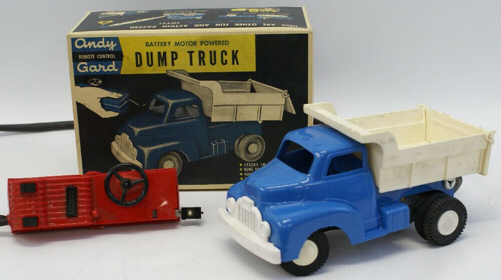 Vintage ANDY GARD Plastic Battery Op Remote Controlled DUMP TRUCK Toy in Box - Continental Hobby House