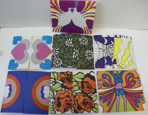 Lot of 28 Vintage 1960's Fold-A-Note Stationary Sheets, 7 Designs, NEW OLD STOCK