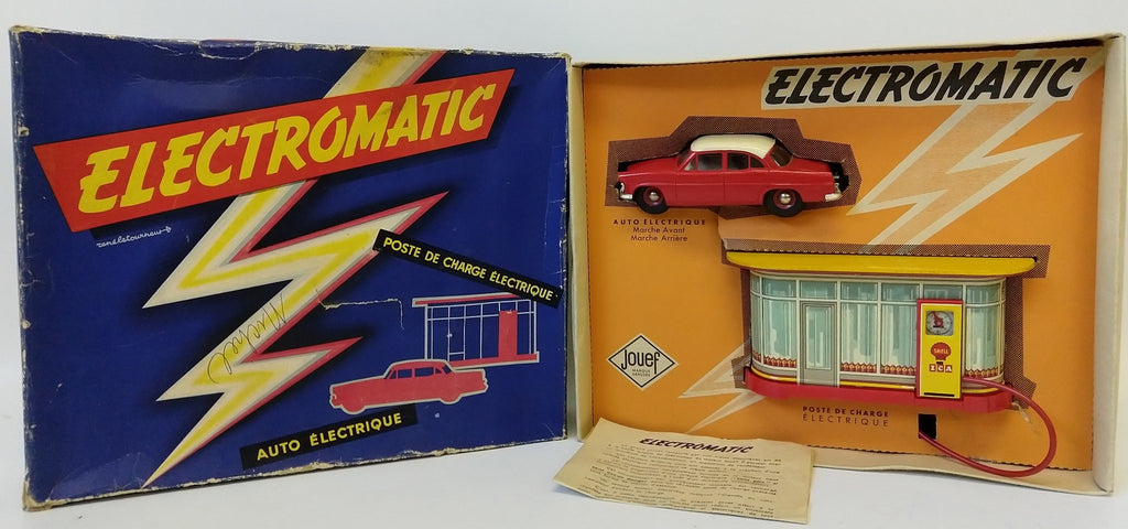 1950's JOUEF (France) 'Electromatic' Power Filling Station & Sedan Set in Box - Continental Hobby House