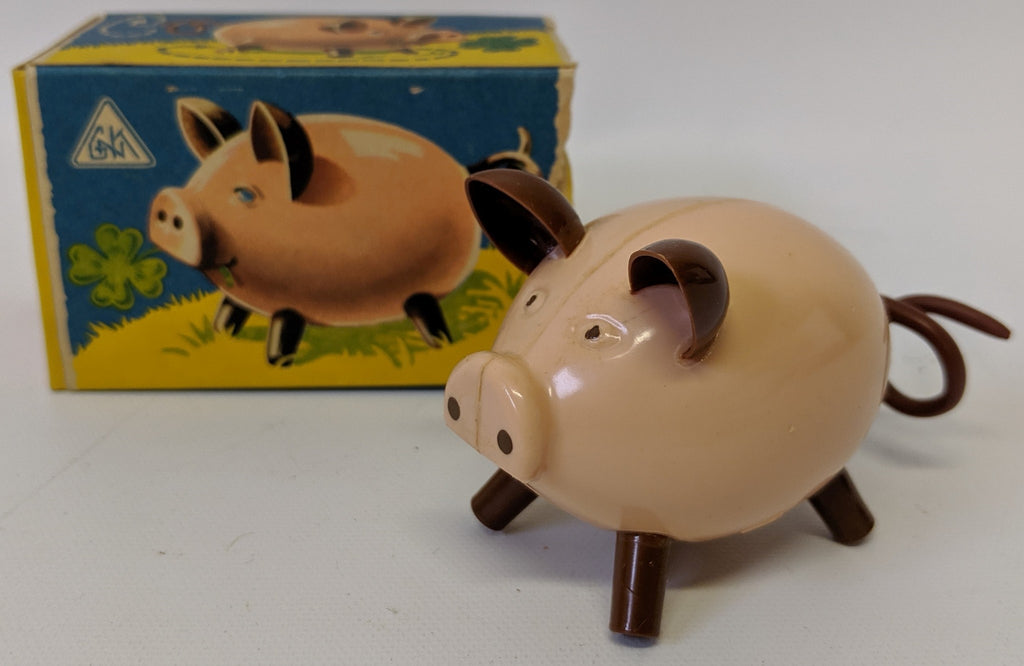 RARE Vintage GNK (Kohler GES) Gesch Germany Wind-up Hard Plastic Pig Toy in Box - Continental Hobby House