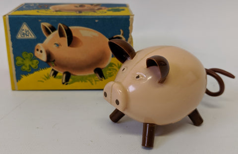 RARE Vintage GNK (Kohler GES) Gesch Germany Wind-up Hard Plastic Pig Toy in Box