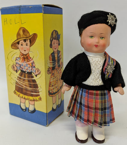 Vintage 1940's DBGM Western Germany Celluloid Windup DANCING DOLL #9609 Toy