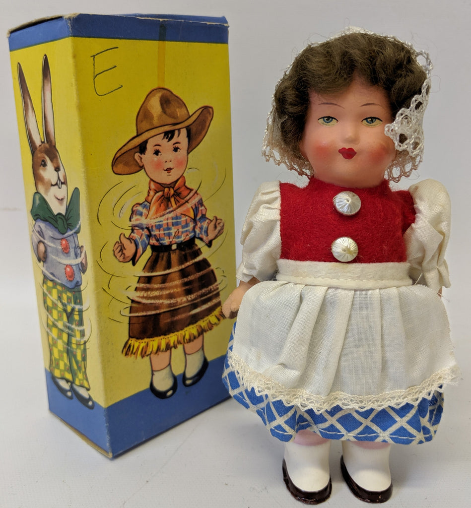 Vintage 1940's DBGM (Western Germany) Celluloid Windup DANCING DOLL #9626 Toy - Continental Hobby House