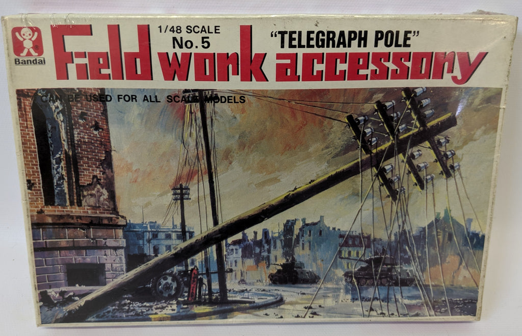 Vintage BANDAI (Japan) 1:48 FIELDWORK ACCESSORY TELEGRAPH POLE Model Kit, SEALED - Continental Hobby House