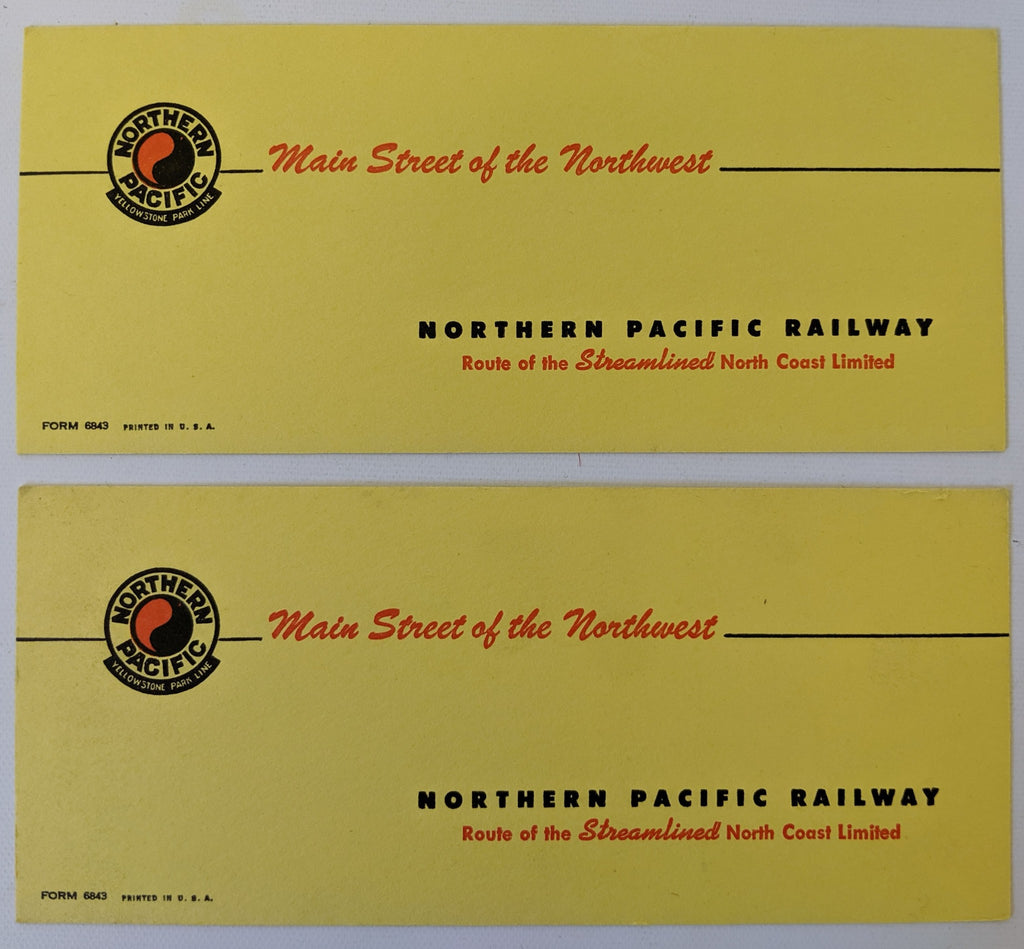 Pair of ORIGINAL 1940's Vintage NORTHERN PACIFIC RAILWAY Unused Ink Blotters NEW - Continental Hobby House