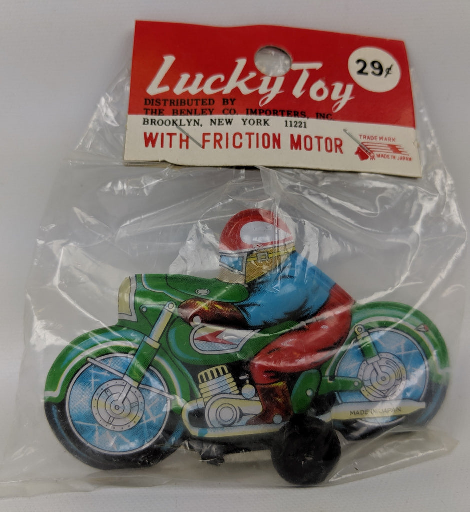 Vintage 1960's (Ichimura, Japan) Tin Friction Lucky Toy MOTORCYCLE, SEALED! - Continental Hobby House
