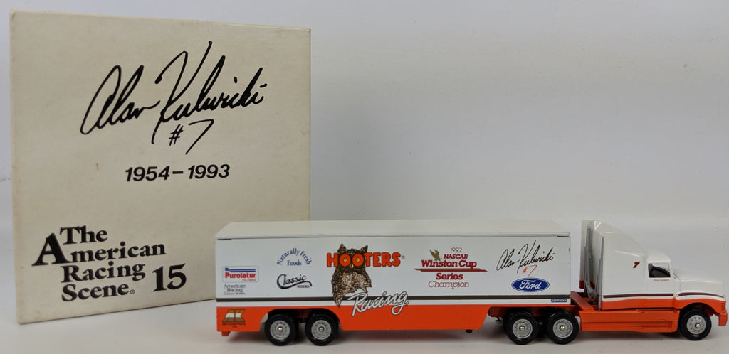 Vintage 1993 ALAN KULWICKI #7 Hooters 1:64 Scale Diecast Race Hauler in Box - Continental Hobby House