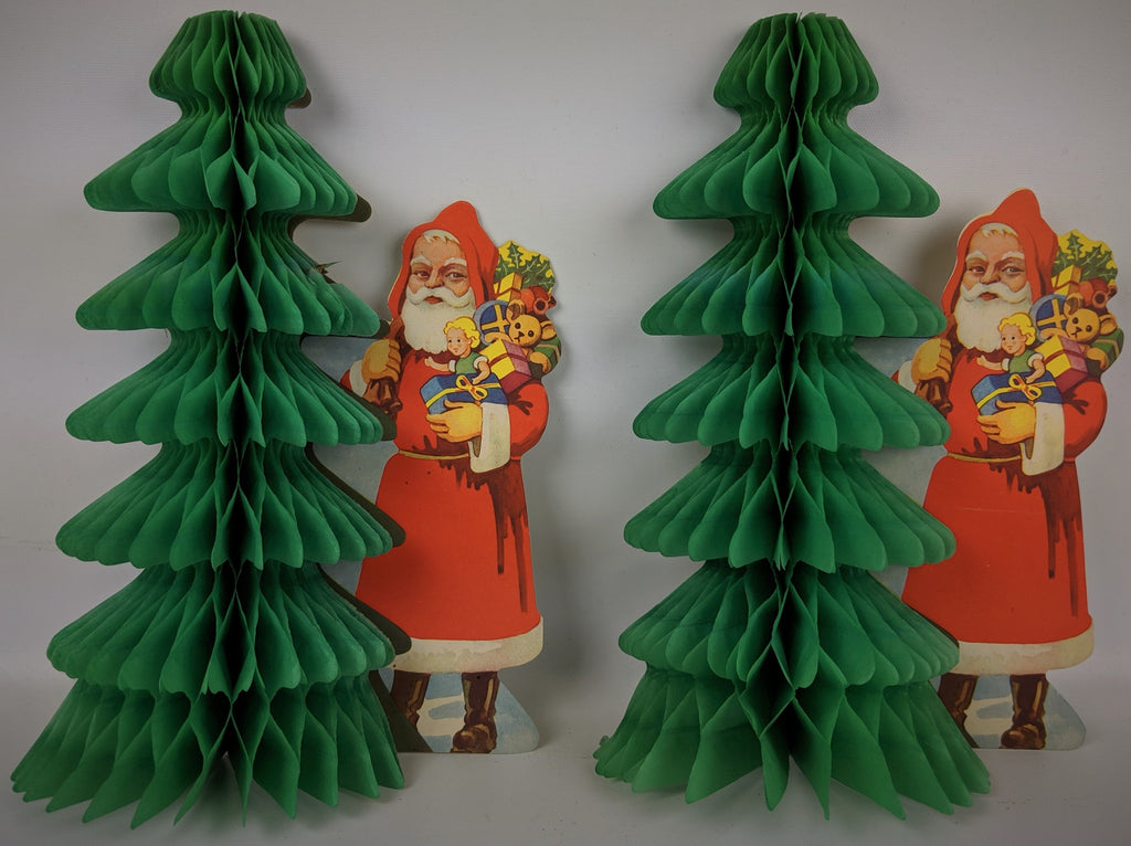 Vintage 1940s CHRISTMAS Santa Honeycomb Foldout Tissue Tree Wall Decoration Pair - Continental Hobby House