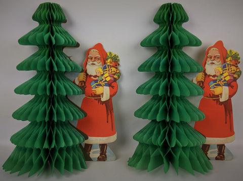 Vintage 1940s CHRISTMAS Santa Honeycomb Foldout Tissue Tree Wall Decoration Pair