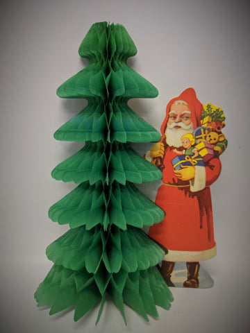 Vintage 1940's CHRISTMAS Santa Honeycomb Foldout Tissue Tree Wall Decoration!