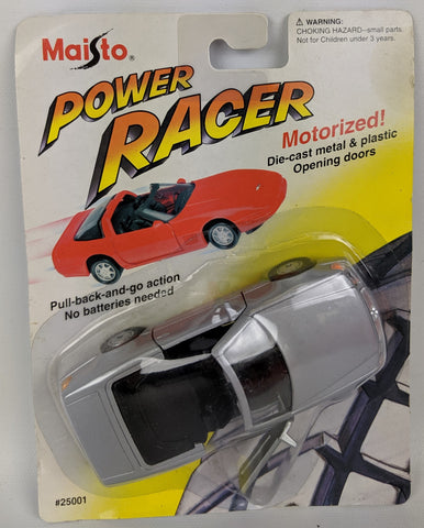 Vintage 1994 MAISTO Power Racer Diecast Motorized MERCEDES BENZ 500SL Silver Car