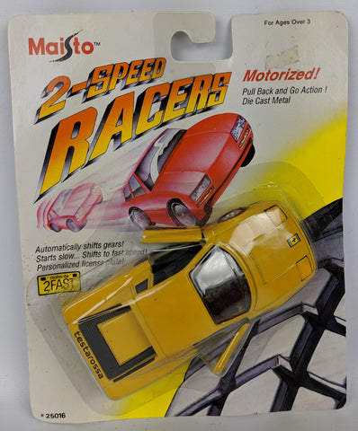 Vintage 1992 MAISTO '2-Speed Racer' Diecast Motorized FERRARI TESTAROSSA Toy Car
