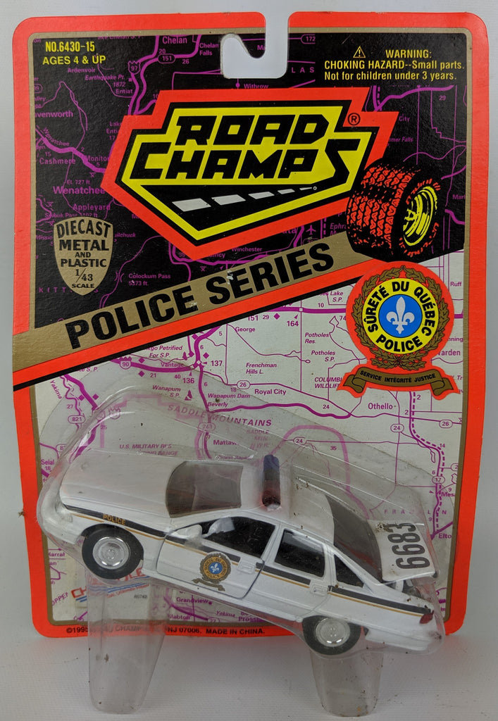 Vintage 1995 ROAD CHAMPS 'Police Series' 1:43 Diecast SURETE DU QUEBEC Toy Car - Continental Hobby House