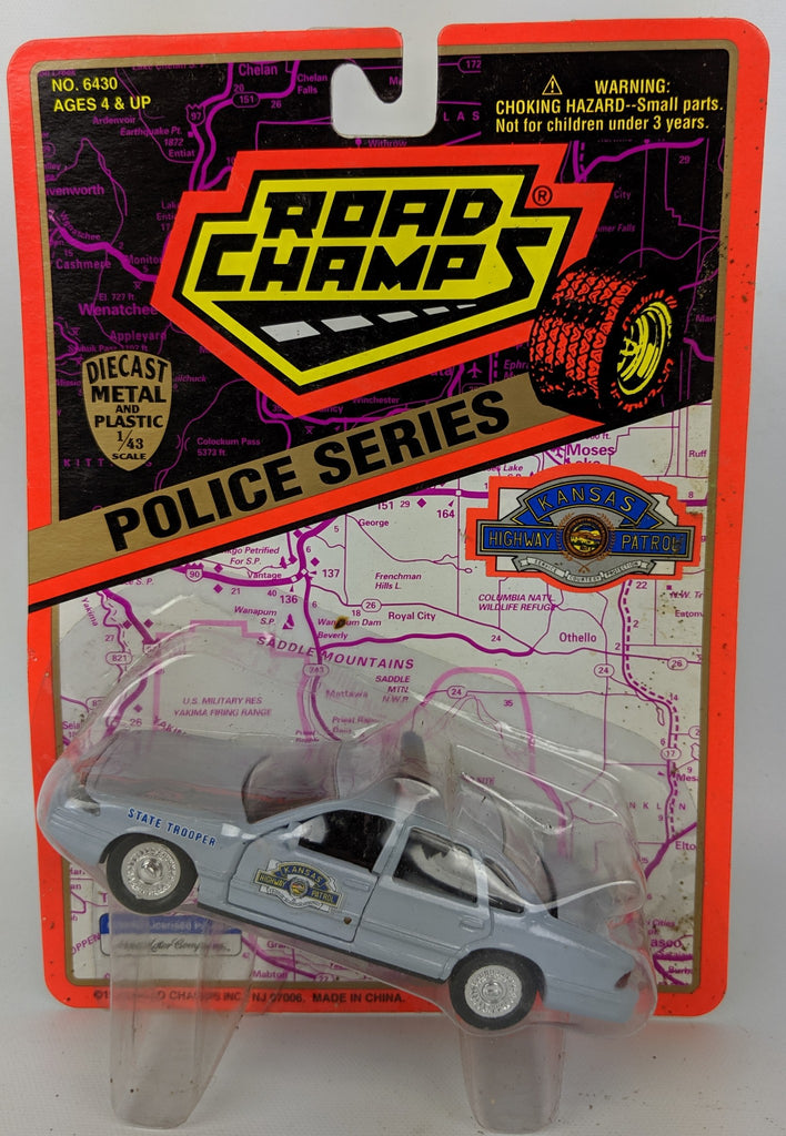 Vintage 1995 ROAD CHAMPS Police Series 1:43 Diecast KANSAS State Patrol Toy Car - Continental Hobby House