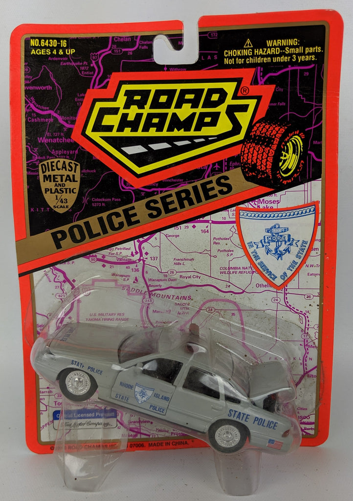 1995 ROAD CHAMPS 'Police Series' 1:43 Diecast RHODE ISLAND State Patrol Toy Car - Continental Hobby House