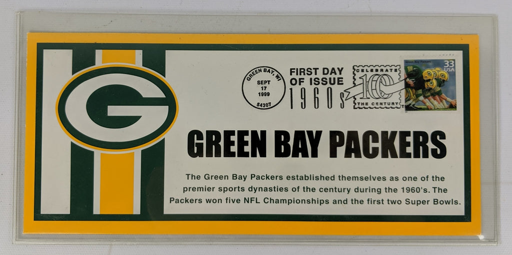 Vintage GREEN BAY PACKERS 1999 Commemorative Envelope & First Day of Issue Stamp - Continental Hobby House