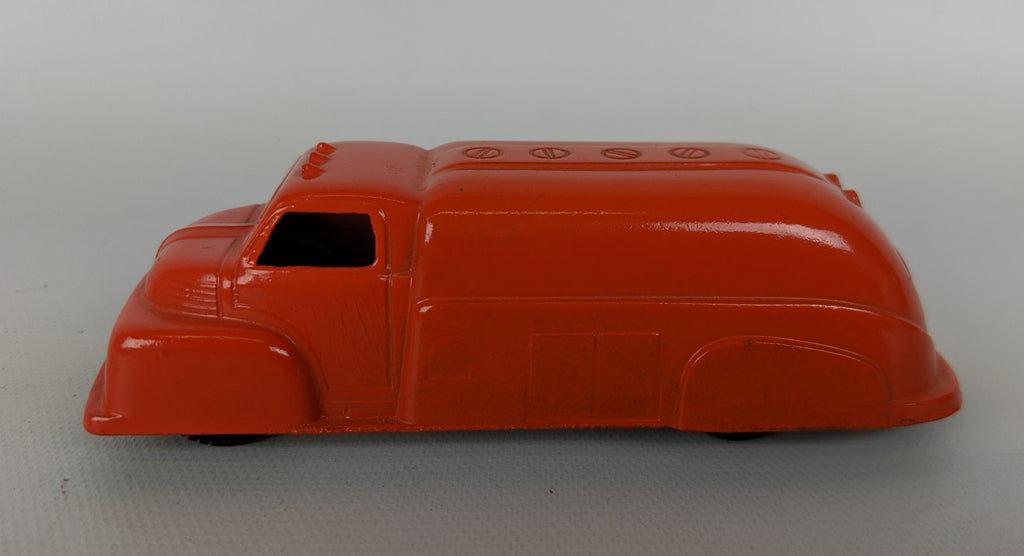 Vintage 1950-69 TOOTSIETOY Diecast 1949 Ford F6 Orange Oil Tanker Tank Truck Toy - Continental Hobby House