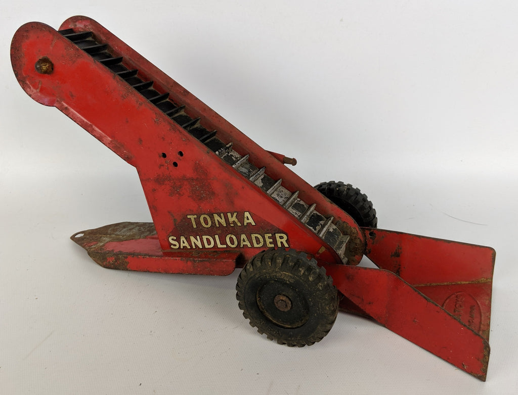 Vintage 1961 TONKA TOYS Mound MN Pressed Steel Red SAND LOADER Escalator Trailer - Continental Hobby House