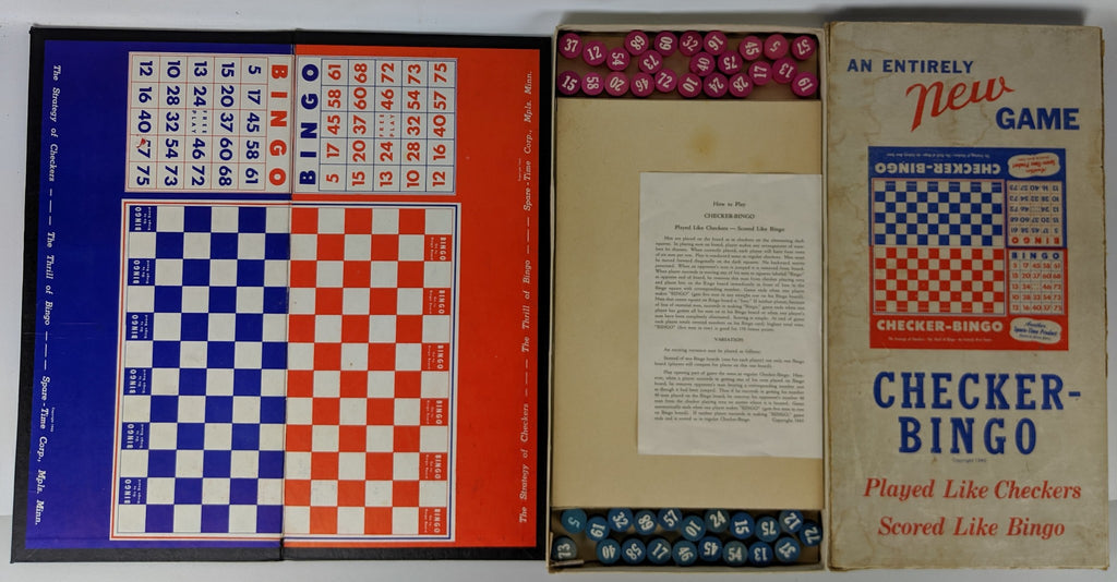 RARE Vintage 1943 CHECKER-BINGO Game, Hard to find War-Time game - Continental Hobby House