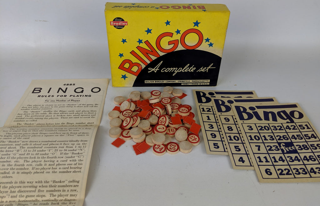 Fun Vintage 1950's BINGO GAME by Milton Bradley, Classic Family Game - Continental Hobby House