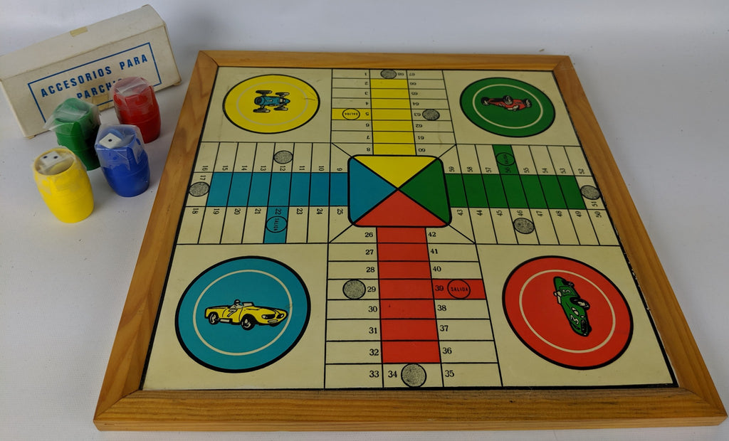 Vintage 2-Sided Checkers & Race Car Game Board with Game Pieces, Made in Spain - Continental Hobby House